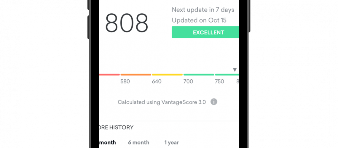 Credit monitoring on iPhone. Credit score is 808 on screen.